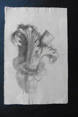 FRENCH SCHOOL 19thC - STUDY GOTHIC ARCHITECTURAL ELEMENT - CHARCOAL DRAWING