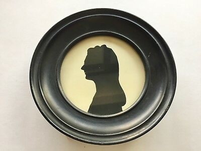 Antique Woman Silhouette Round Wood Table Frame Dated