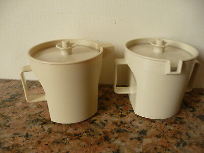 Vintage Almond Tupperware Creamer and Sugar Set ~ 1414-2 & 1415-3