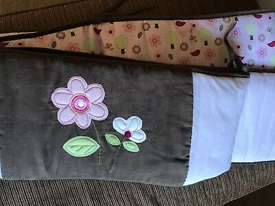 Carter's Just One Year Crib Bumper Pad Pink flowers and birds with brown trim