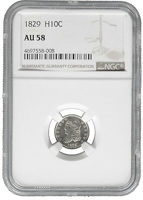 1829 NGC AU 58 Collectible Silver Capped Bust Half Dime (b387.10)