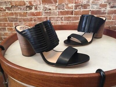 97a6cafd080 Vince Camuto Astar Black Leather Woven Block Heel Slide Sandals 9 39 New