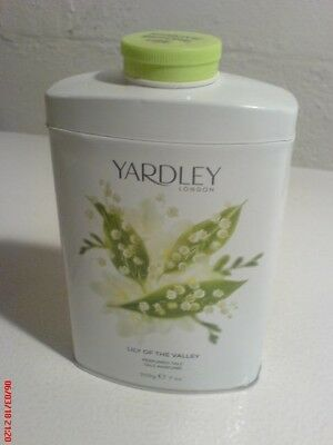 Yardley Lily of the Valley sealed shaker tin of perfumed talc, 200 g 7 oz Englan