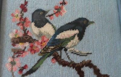 Vintage Blue Wool Needlepoint Embroidery Birds Pink Flower Blossoms 9x13 Framed