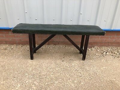 Vintage padded school bench Antique bench Waxed Cotton