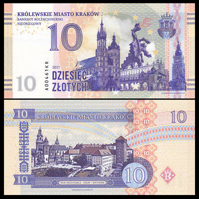 Poland, Krakow, 10 Zlotych, Private Issue, Specimen, Essay, 2017, test note, UNC