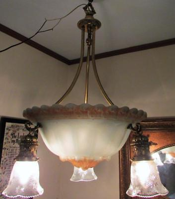 Antique Chandelier Embossed Center Shade 3 Arm Cast Brass Outer Sockets Art Deco