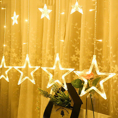 LED Stars Christmas Hanging Curtain Lights String Net Xmas Home Party Decor Hot