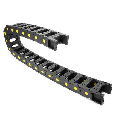R55 25mm x 57mm Black Plastic Open Type Cable Drag Chain Wire Carrier 1M Length