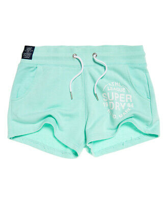 New Womens Superdry Factory Second Athletics Tiger Shorts Blue//Stripe