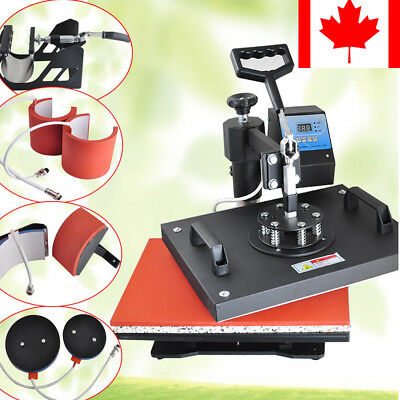 8 in1 Heat Press Machine Transfer Sublimation DIY T-Shirt Mug Hat Plate CA& USA