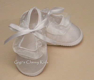 New Baby Girls White Christening Baptism Booties Dress Shoes Sizes 0 1 2  OR