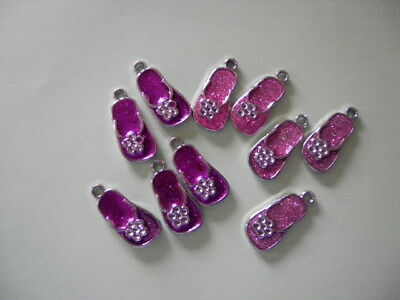 1 Pack of 10 Beautiful Metal Floral Flip Flop Charms. (B278)