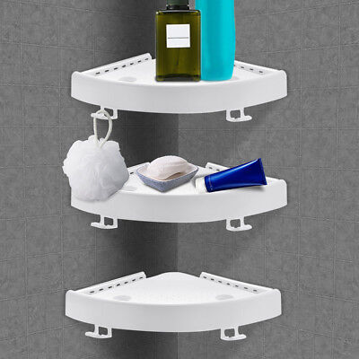 2/3x Suction Cup Bathroom Kitchen Corner Storage Rack Shower Shelf Holder DIY