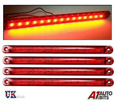 4 Pcs Red 12V 24V 15 LED Tail Side Marker Lights Truck Trailer Lorry  9.5""