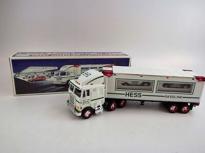 1997 Hess Toy Truck & 2 Racers w Friction Motors w Headlights & Taillights VGUC