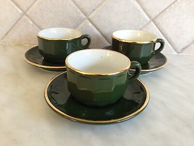 Apilco Green / Gold 3 Coffee Cups & Saucers  French Bistro - Rare