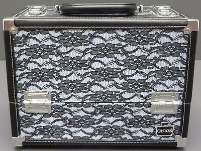 Caboodles Stylist Cosmetic Makeup Train Case Black Lace 6 Tray Organizer
