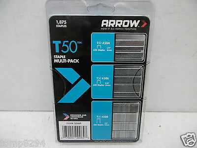Arrow T50 Staples Multi Pack 625 Each Of 6Mm 10Mm & 12Mm