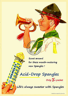 Vintage Poster Spangles Acid Drop Sweets RETRO ADVERT ART Print Boy Scout A3 A4