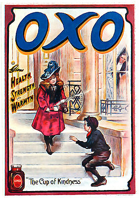 OXO VINTAGE ADVERTISING POSTER ART Print A4 A3 ideal for Kitchen, Cafe etc