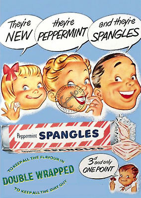 Vintage Poster Spangles Peppermint Sweets RETRO ADVERTISING ART Print 1960s 70s