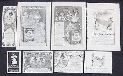Vtg LOWNEY'S CHOCOLATE Cocoa Candy Print Ad Lot~Collage/Scrap Art~Victorian Lady