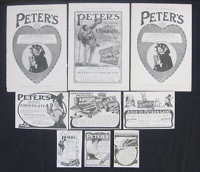 9 Vtg PETER'S CHOCOLATE Candy Print Ad Lot~Collage/Scrap Art~Alice in Wonderland