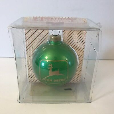 JOHN DEERE Christmas Tree Ornament Green Gold Ball Logo 1996 Waterloo Iowa
