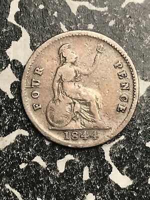 1844 Great Britain 4 Pence Fourpence Lot#X5952 Silver! Low Mintage!