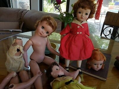Vintage Old Madame Alexander Doll Lot Dolls For Parts Or Repair 21 inch Cissy!