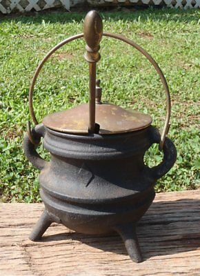 Antique Cast Iron Smelting SMUDGE POT #2 Fire Starter Kettle w/Pumice Stone Wand