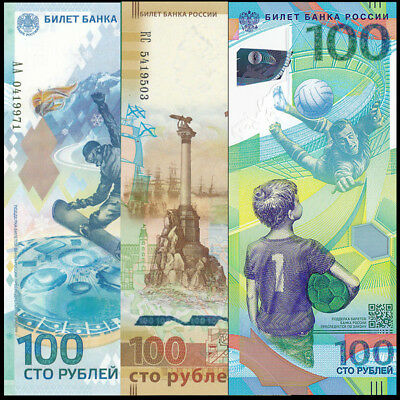 Set 3 PCS, Russia 100 rubles, FIFA World Cup 2018+ Crimea 2015+ Sochi 2014, UNC