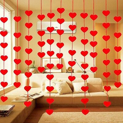 Decorated String Curtain Red Heart Drape DIY Divider Hanging Panel Wedding Favor