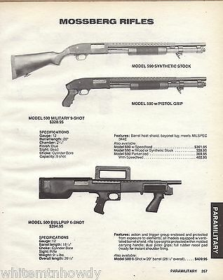 1989 Mossberg 590 Synthetic & Pistol Grip, 500 Bullpup  Rifle Ad Advertising