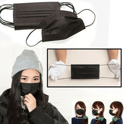 50pcs Disposable Surgical Face Anti-Dust Ear Loop Medical Mouth Mask Cover Black