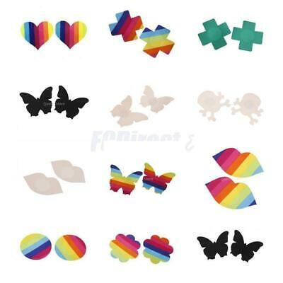 Sexy Womens Disposable Rave Pasties Adhesive Bra Nipple Cover Stickers Rainbow