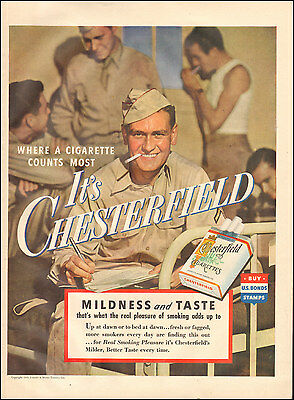 1943 Vintage ad for Chesterfield Cigarettes`WWII era Soldier.  (021317)