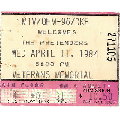 THE PRETENDERS Concert Ticket Stub COLUMBUS OH 4/11/84 LEARNING TO CRAWL TOUR