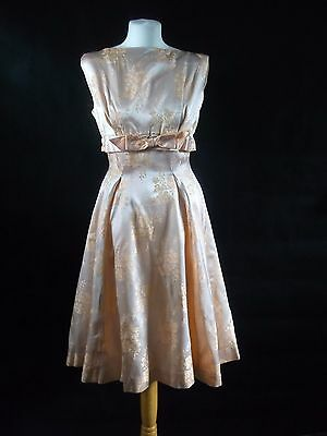 pretty original vintage 1950s 50s dress - peach satin UK size 10 to 12