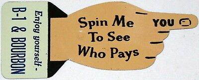 Vintage metal spinner B-1 AND BOURBON soda pop die cut finger new old stock Rare