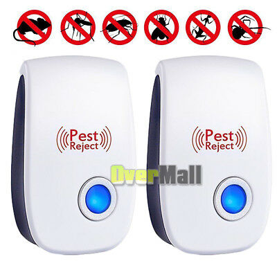 2 X 2019 Electronic Ultrasonic Pest Repeller Control Rat Cockroach Ant Fly Flea