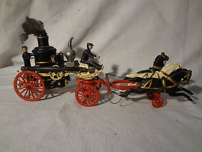 Cast Iron 3 Horse Drawn Fire Wagon 2 Firemen 2 Hoses Nice Condition Vintage RARE