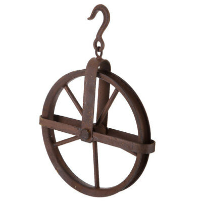 Rustic Brown Rusted Metal Pulley Antique Vintage Industrial Country Decor