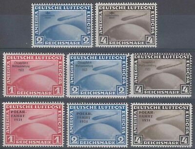 Fac-123 Germany Deutschland Zeppelin Private Facsimile Forg Lot Of 8 Different