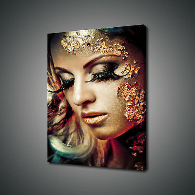 Portrait Of Beautiful Golden Woman Canvas Print Wall Art Picture Photo