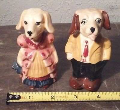 Man Male Woman Female  Dog Dogs Salt And Pepper Shakers Ceramic Japan