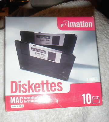 "Imation MAC Formatted 2 HD 1.4 MB 3.5"" Diskettes,box of  10 NEW NIB Computer"