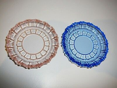 Pink / Blue Glass Coasters Vintage Collectable Decorating