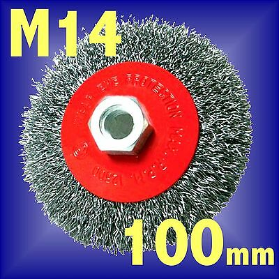 Silverline 100mm Rotary Steel Wire Brush Crimp Bevel wheel cup Angle Grinder M14